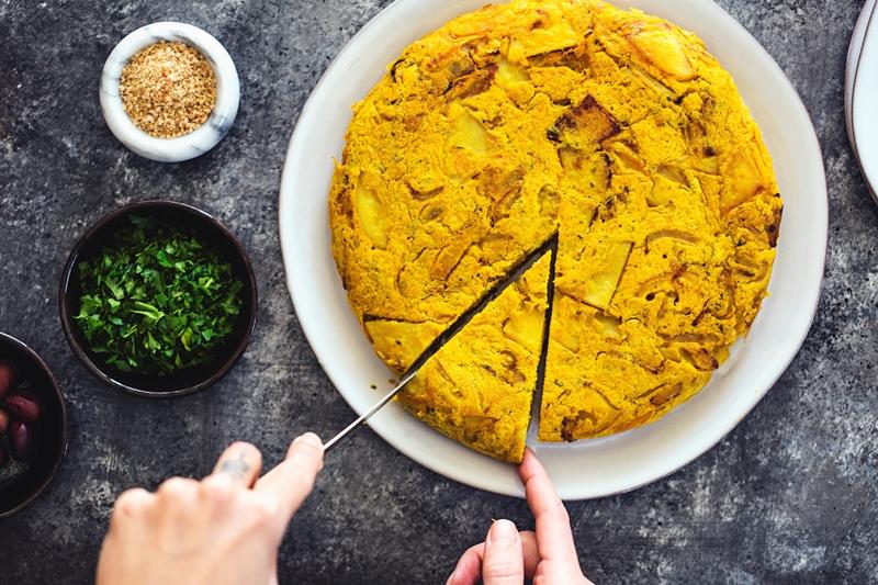 receta tortilla de papas vegana